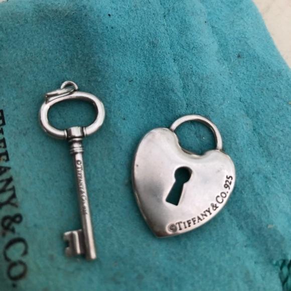 Tiffany Co Jewelry Tiffany Co 2 Charms Heart Lock And Key Ss Auth Poshmark